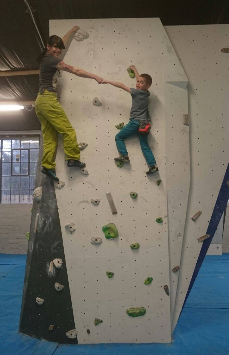 My sister and my nephew bouldering together